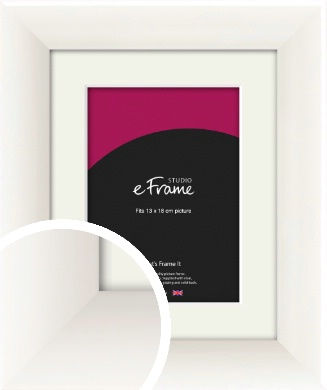 Arc High Gloss White Picture Frame & Mount, 13x18cm (5x7