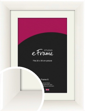 Arc High Gloss White Picture Frame & Mount, 20x30cm (8x12
