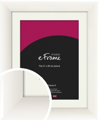 Arc High Gloss White Picture Frame & Mount, 21x28cm (VRMP-742-M-21x28cm)