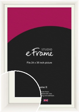 Arc High Gloss White Picture Frame & Mount, 24x36