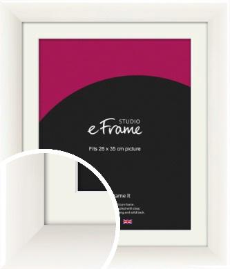 Arc High Gloss White Picture Frame & Mount, 28x35cm (VRMP-742-M-28x35cm)