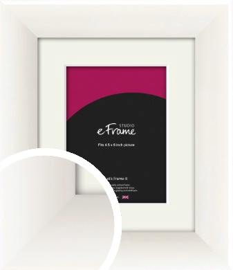 Arc High Gloss White Picture Frame & Mount, 4.5x6