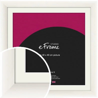 Arc High Gloss White Picture Frame & Mount, 40x40cm (VRMP-742-M-40x40cm)