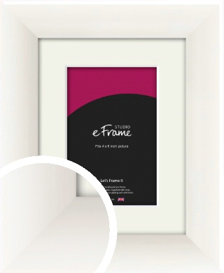 Arc High Gloss White Picture Frame & Mount, 4x6