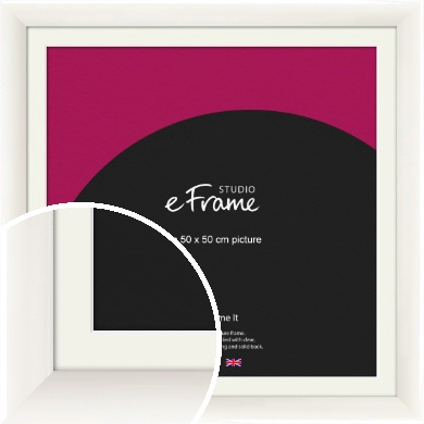 Arc High Gloss White Picture Frame & Mount, 50x50cm (VRMP-742-M-50x50cm)