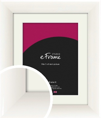 Arc High Gloss White Picture Frame & Mount, 7x9