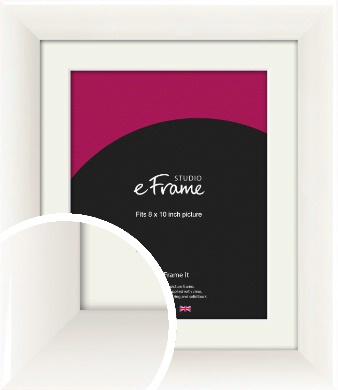 Arc High Gloss White Picture Frame & Mount, 8x10
