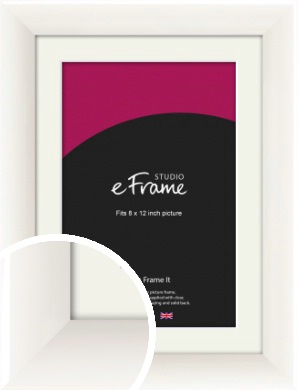 Arc High Gloss White Picture Frame & Mount, 8x12