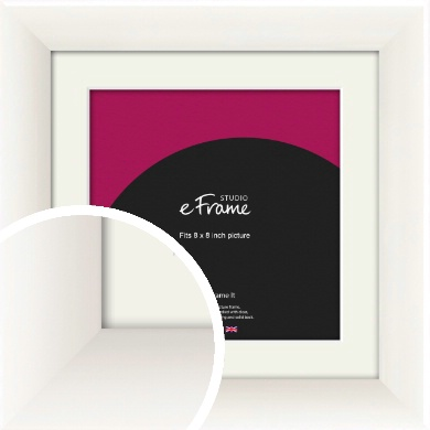 Arc High Gloss White Picture Frame & Mount, 8x8