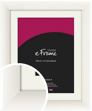 Arc High Gloss White Picture Frame & Mount, 9x12