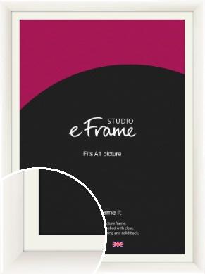 Arc High Gloss White Picture Frame & Mount, A1 (594x841mm) (VRMP-742-M-A1)