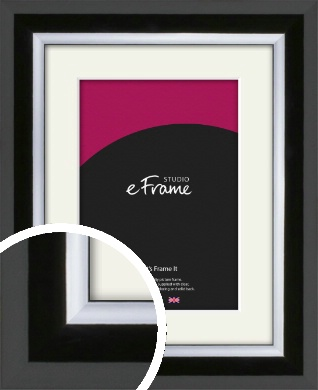 Lacquered Rounded Black Picture Frame & Mount (VRMP-1173-M)