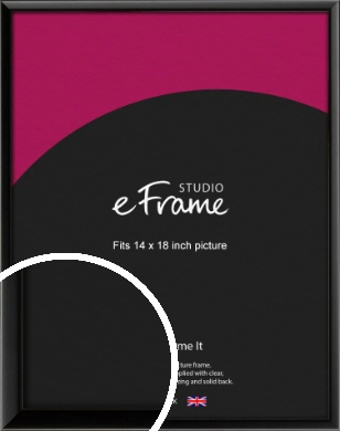 Narrow Sleek Painted Black Picture Frame, 14x18
