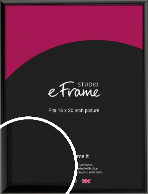 Narrow Sleek Painted Black Picture Frame, 15x20