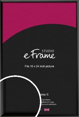 Narrow Sleek Painted Black Picture Frame, 16x24