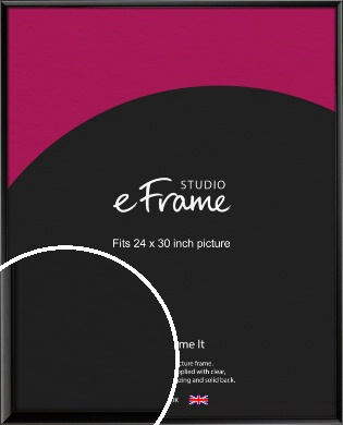 Narrow Sleek Painted Black Picture Frame, 24x30