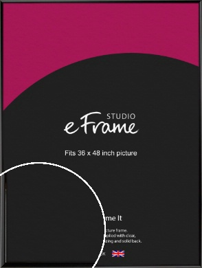 Narrow Sleek Painted Black Picture Frame, 36x48