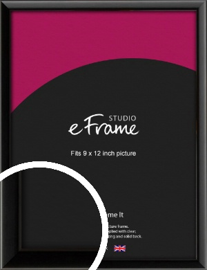 Narrow Sleek Painted Black Picture Frame, 9x12