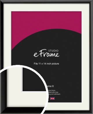 Narrow Sleek Painted Black Picture Frame & Mount, 11x14