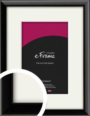 Narrow Sleek Painted Black Picture Frame & Mount, 4x6