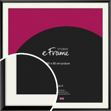 Narrow Sleek Painted Black Picture Frame & Mount, 50x50cm (VRMP-377-M-50x50cm)