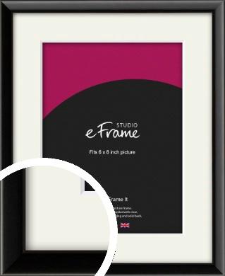 Narrow Sleek Painted Black Picture Frame & Mount, 6x8