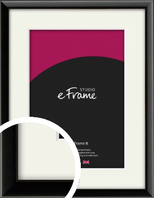 Narrow Sleek Painted Black Picture Frame & Mount (VRMP-377-M)