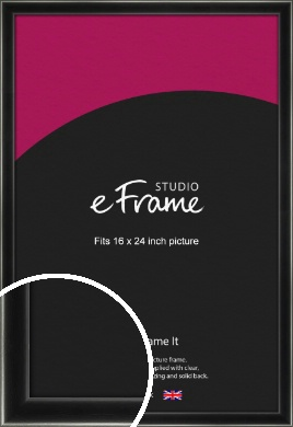 Contemporary Smooth Black Picture Frame, 16x24