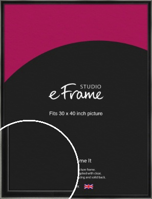 Contemporary Smooth Black Picture Frame, 30x40