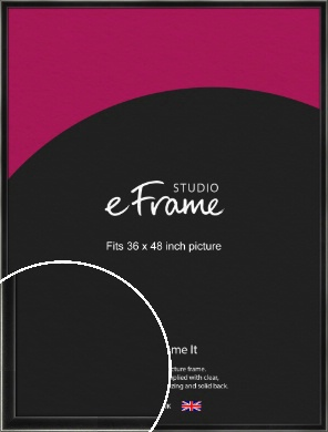 Contemporary Smooth Black Picture Frame, 36x48