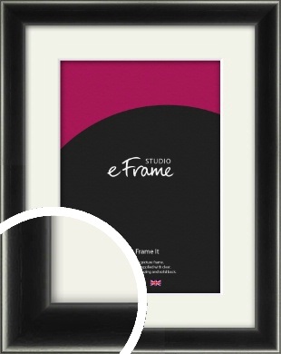 Contemporary Smooth Black Picture Frame & Mount (VRMP-195-M)