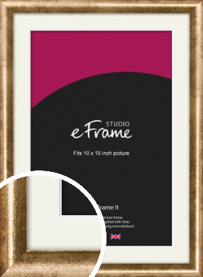 Rounded Edge Antique Gold Picture Frame & Mount, 10x15