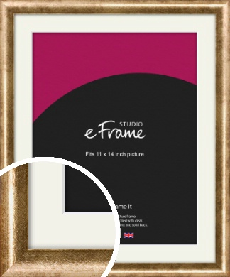 Rounded Edge Antique Gold Picture Frame & Mount, 11x14