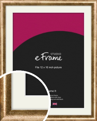 Rounded Edge Antique Gold Picture Frame & Mount, 12x16