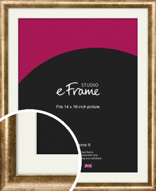 Rounded Edge Antique Gold Picture Frame & Mount, 14x18