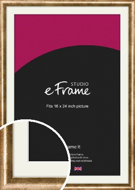 Rounded Edge Antique Gold Picture Frame & Mount, 16x24