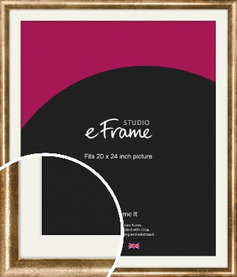 Rounded Edge Antique Gold Picture Frame & Mount, 20x24