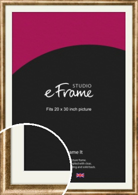 Rounded Edge Antique Gold Picture Frame & Mount, 20x30