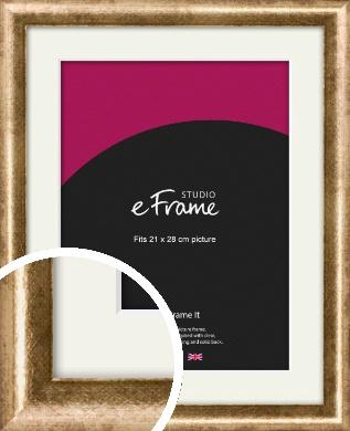 Rounded Edge Antique Gold Picture Frame & Mount, 21x28cm (VRMP-118-M-21x28cm)