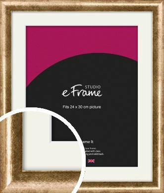 Rounded Edge Antique Gold Picture Frame & Mount, 24x30cm (VRMP-118-M-24x30cm)