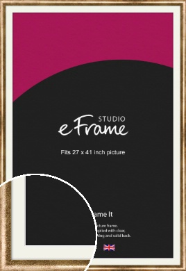 Rounded Edge Antique Gold Picture Frame & Mount, 27x41