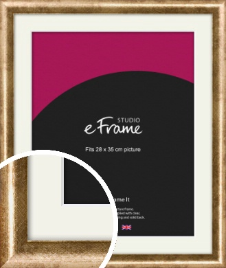 Rounded Edge Antique Gold Picture Frame & Mount, 28x35cm (VRMP-118-M-28x35cm)