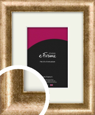 Rounded Edge Antique Gold Picture Frame & Mount, 3.5x5