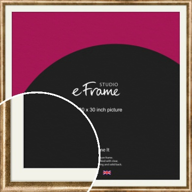 Rounded Edge Antique Gold Picture Frame & Mount, 30x30