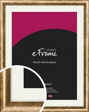 Rounded Edge Antique Gold Picture Frame & Mount, 30x40cm (VRMP-118-M-30x40cm)