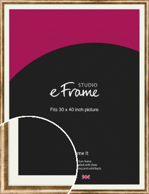 Rounded Edge Antique Gold Picture Frame & Mount, 30x40