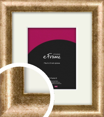 Rounded Edge Antique Gold Picture Frame & Mount, 4x5