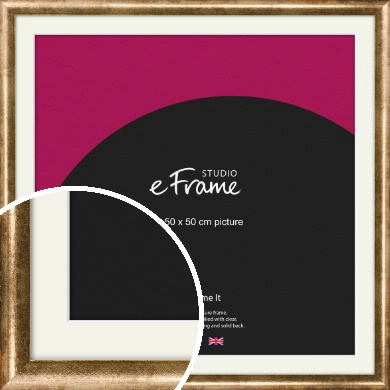 Rounded Edge Antique Gold Picture Frame & Mount, 50x50cm (VRMP-118-M-50x50cm)