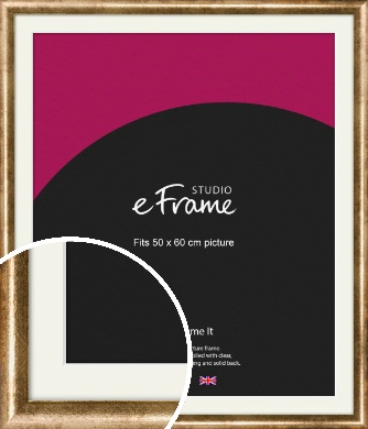 Rounded Edge Antique Gold Picture Frame & Mount, 50x60cm (VRMP-118-M-50x60cm)