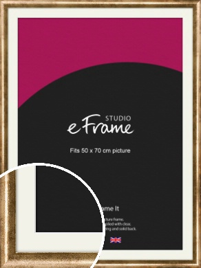 Rounded Edge Antique Gold Picture Frame & Mount, 50x70cm (VRMP-118-M-50x70cm)